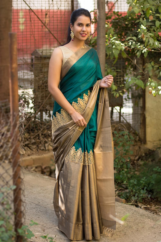 ab2a1b8ccf0841 Deep green soft cotton silk saree big shimmer tissue border and rich gold  border  saree  houseofblouse  cottonsilk  green  gold  shimmer  crochet   lace   ...