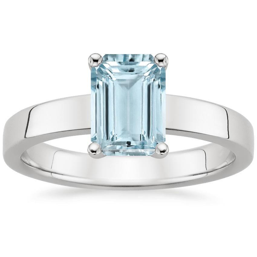 Aquamarine Marina Engagement Ring - 18K White Gold