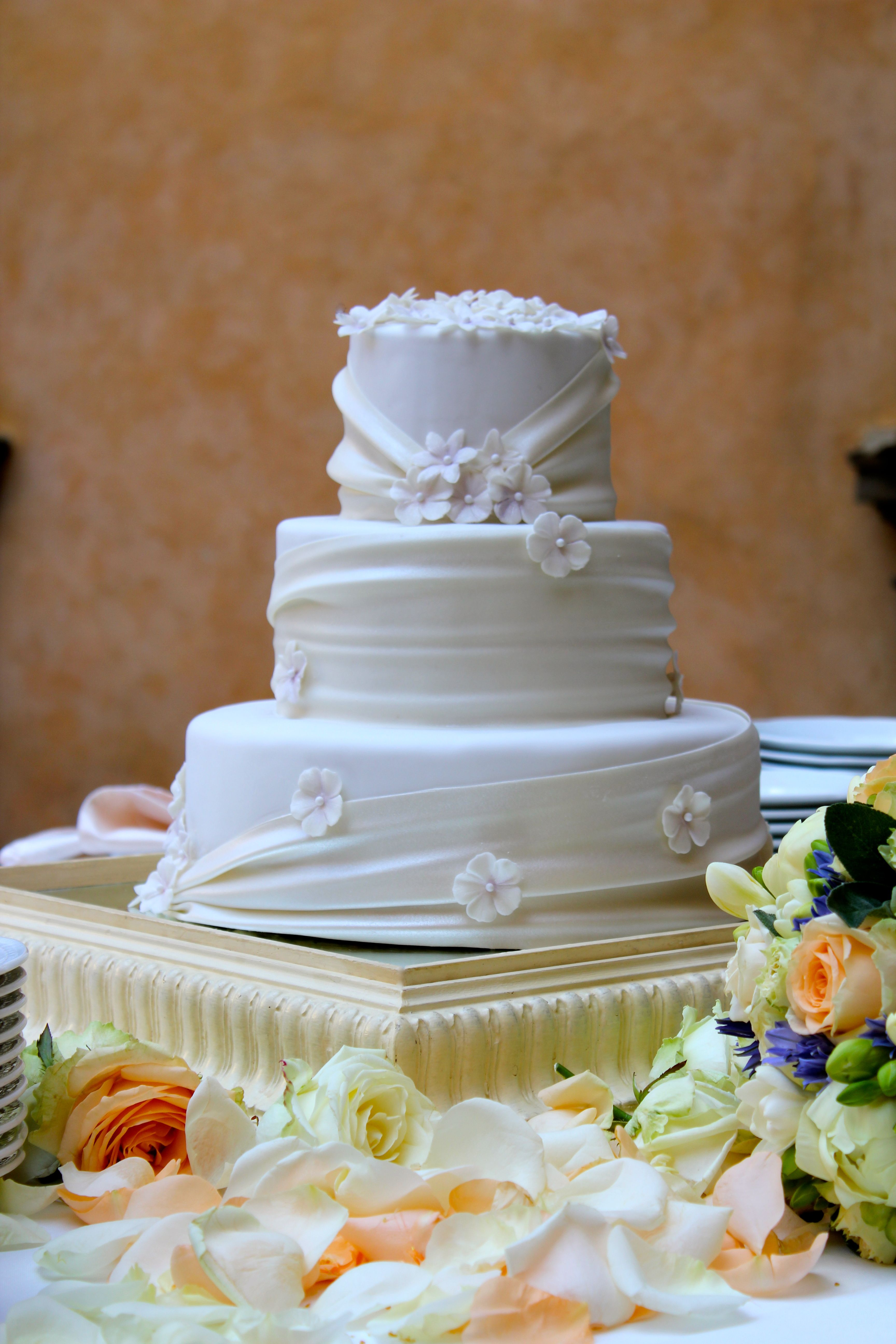 3 tier Wedding Cake with sugar ribbon and sugar flowers