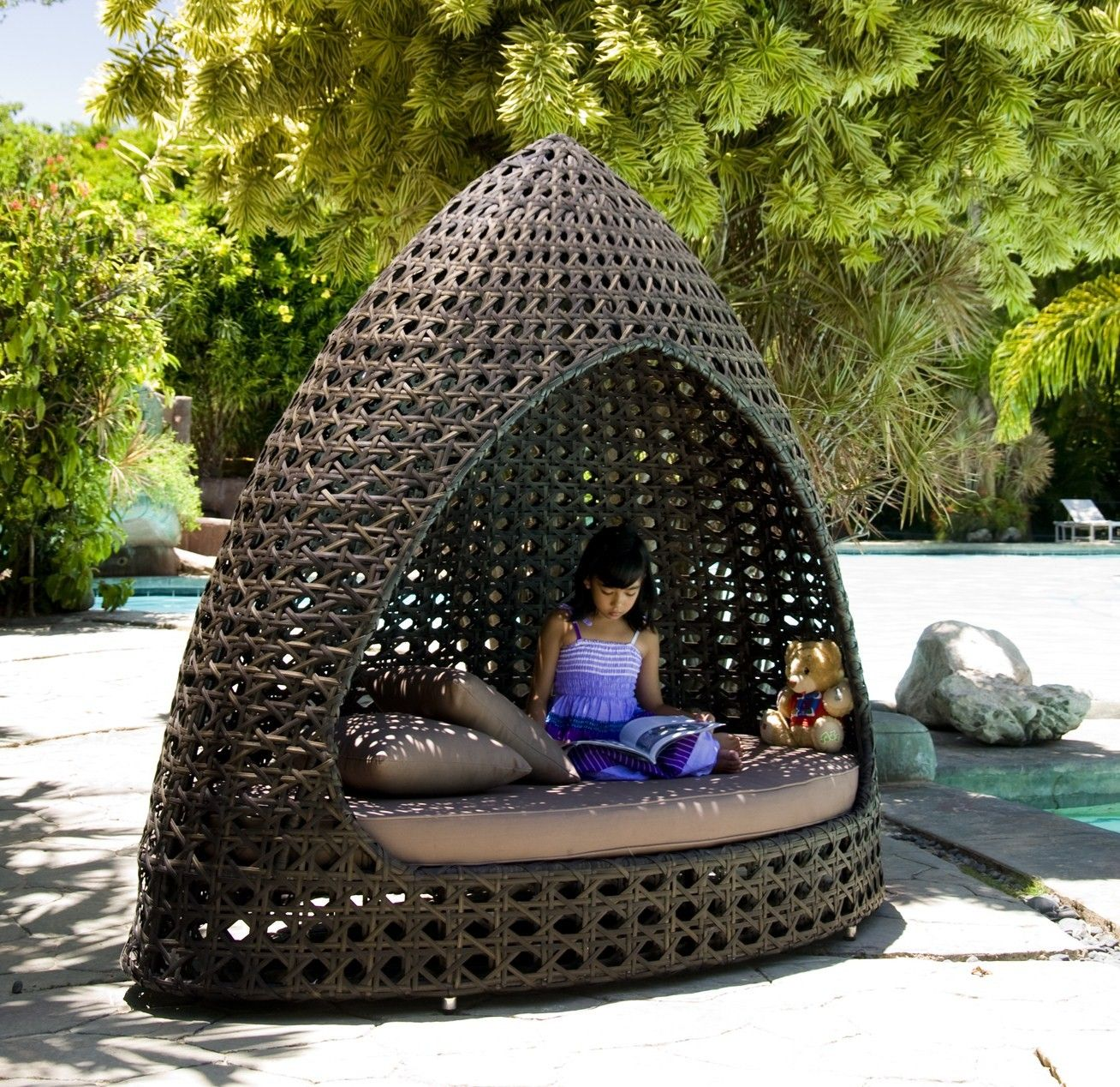 Rattan Daybed. Bronze Weatherproof Wicker Daybed Hut With Canopy u0026 Cushions & Rattan Daybed. Bronze Weatherproof Wicker Daybed Hut With Canopy ...