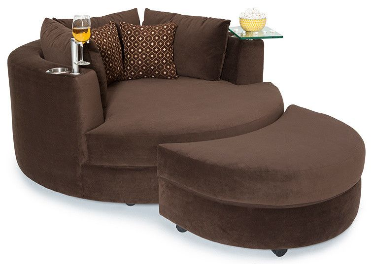 Brown Round A Chair And Half With Glass Tray Holder In The Left Adn Cupholder In The Right And Two Accent Pillow Cuddle Couch Home Theater Seating Cuddle Chair