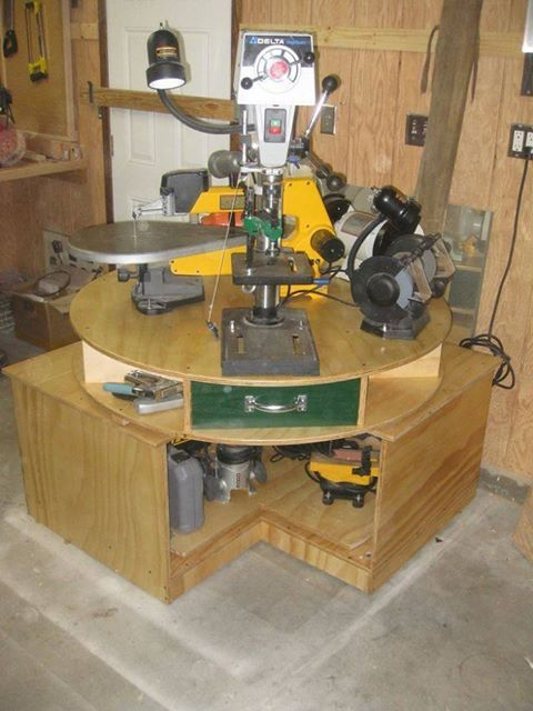 Rotating Electric Tool Station Woodworking Shop