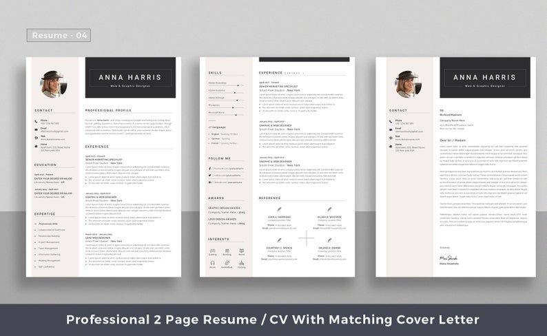 Professional Resume Template Top Selling Resume Cv Big Etsy Resume Template Resume Template Professional Resume Microsoft Word
