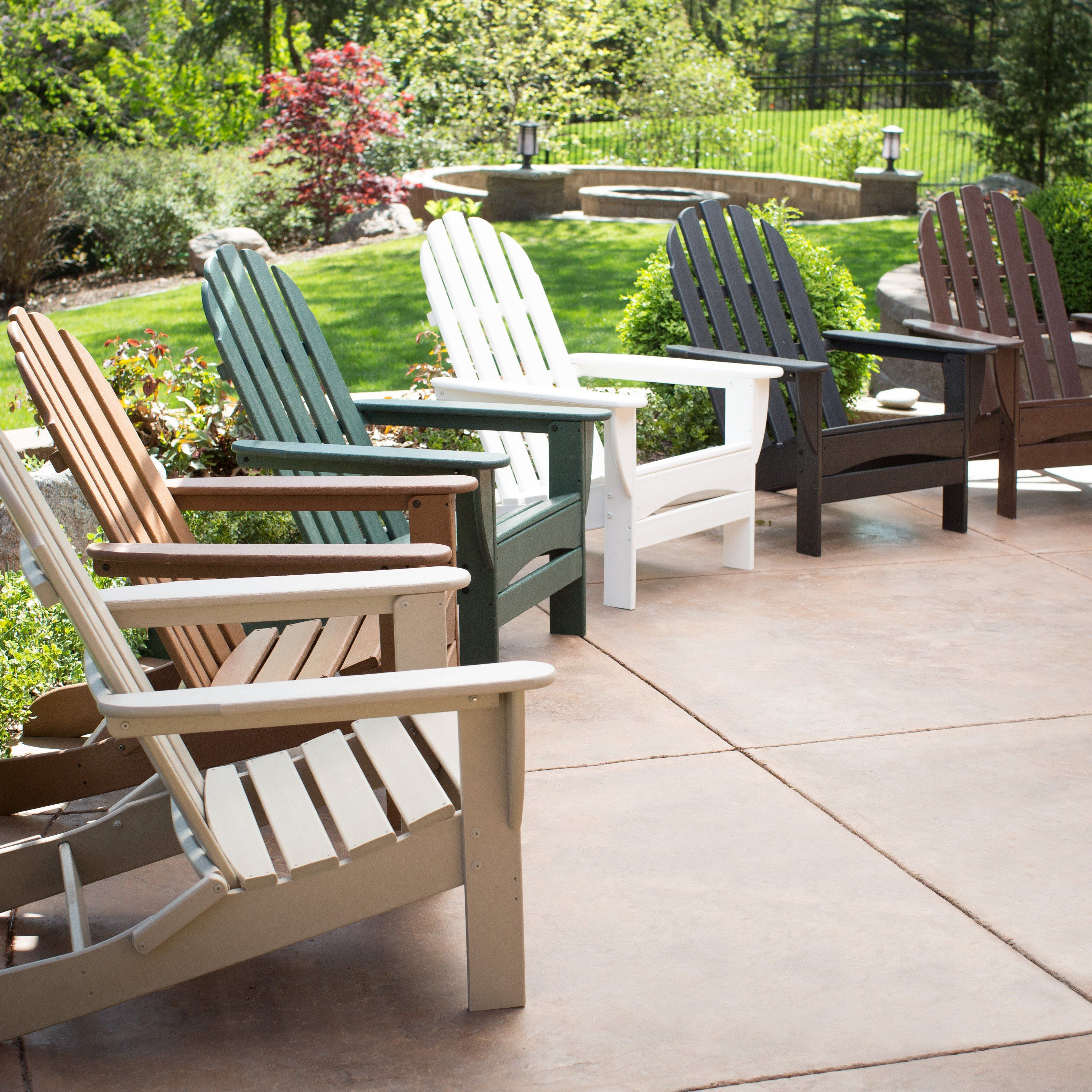 Outdoor Adirondack Chair: Polywood Recycled Plastic Classic Curveback  Adirondack Chair   CBADBL