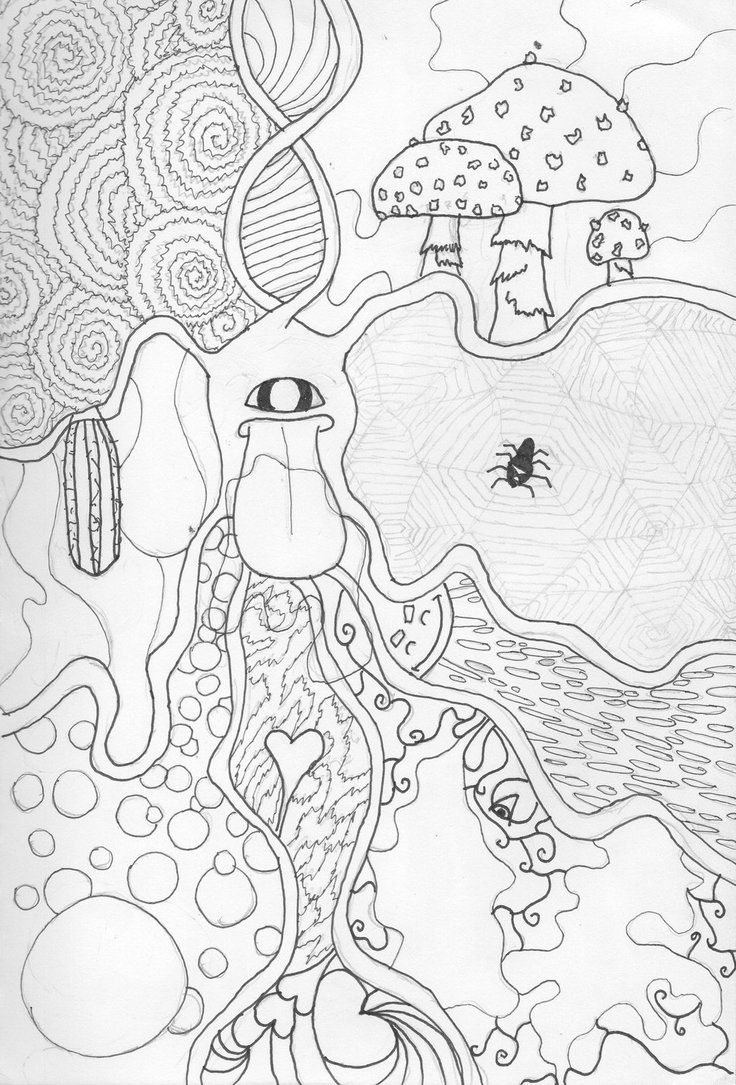 Trippy Coloring Pages | Trippy Shroom Coloring Pages | Coloring ...