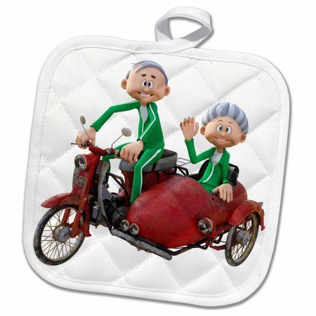 Home Elderly Couples Sidecar Quilted Potholders