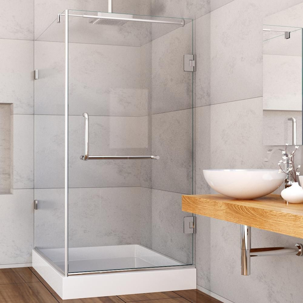 VIGO 36-Inch x 48-Inch Frameless Shower Stall in Clear with Brushed ...