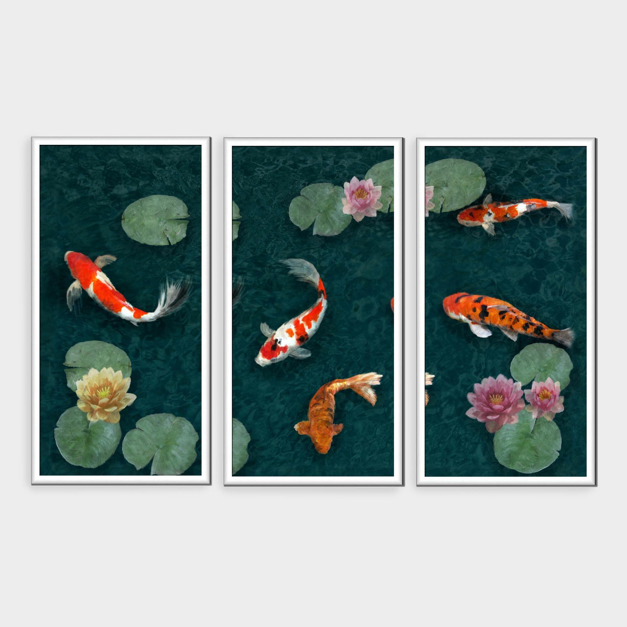Twilight In Koi Pond >> Koi Pond Triptych Shadowbox Framed Canvas Wall Art Set Of 3 Green