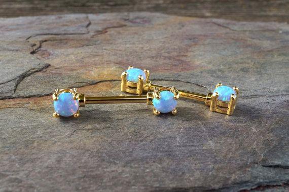 Light Blue Opal Gold Nipple Bar Jewelry Barbell