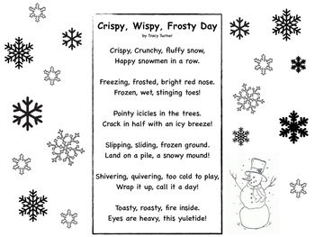 Winter Seasonal Snowflake Imagery Poem And Activity With Images
