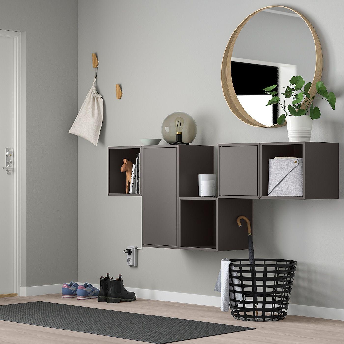 Eket Schrankkombination Fur Wandmontage Dunkelgrau Ikea Osterreich Eket Ikea Eket Wall Mounted Cabinet