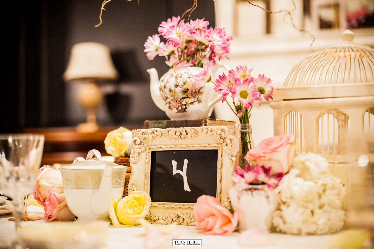 Vintage tea party centerpiece. Rentals and styling by