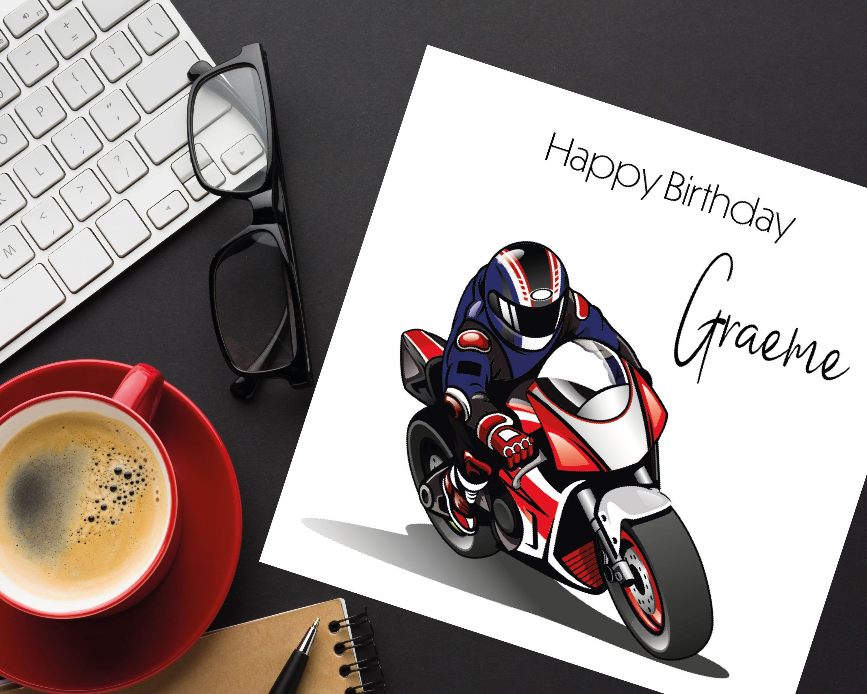 Card For Biker Motorcyclist Birthday Card With Motorbike Etsy Birthday Cards Minimalist Cards Personalized Card