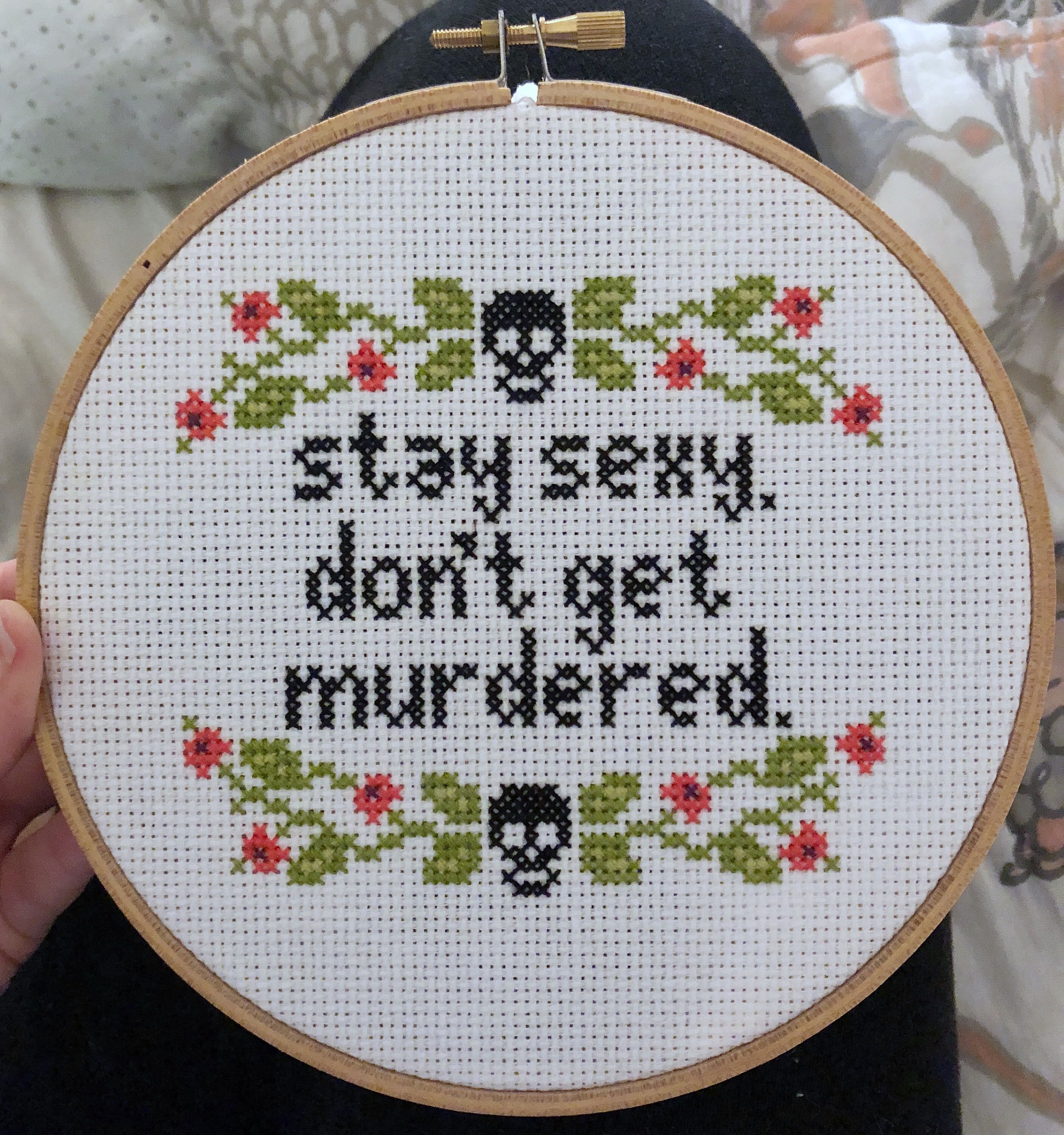 Pattern my favorite murder cross stitch stay sexy donut get