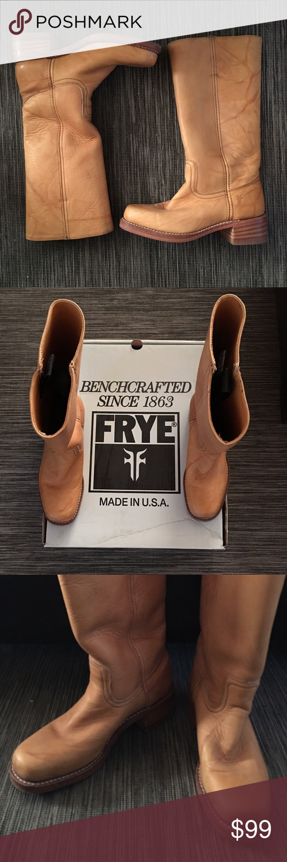 """Frye boots Frye Campus 14L leather boots in Banana. Worn a handful of times still in amazing condition. 2"""" stacked heel, size 8 but runs a little big so would fit an 8.5 more comfortably. Purchased for $239 a few years back they're now selling for $328! Frye Shoes Combat & Moto Boots"""