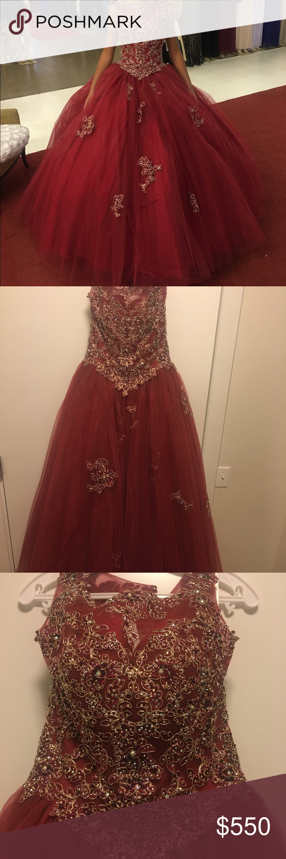 Quinceanera / Prom dress / Ball gown (New) Maroon ball gown