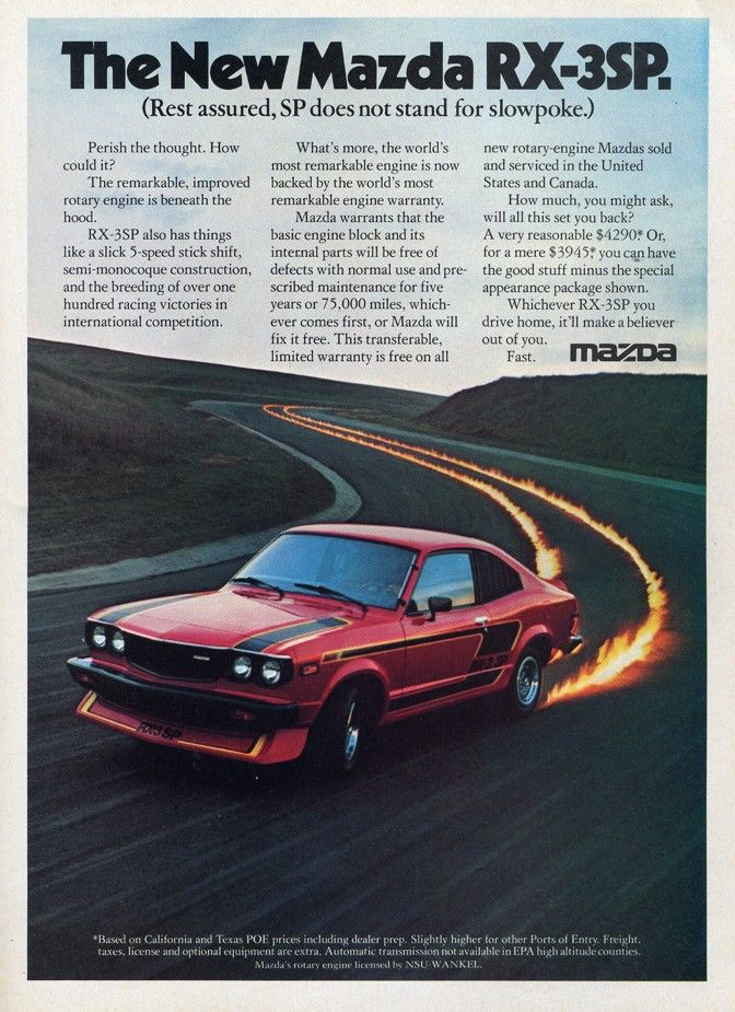 In the good old days, car advertising featured flaming tir   Mazda ...