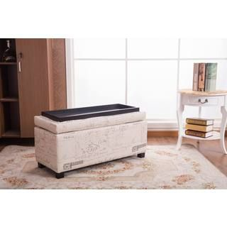 36 inches long x 16 inches wide x 18 inches  Addison Off-white 37-inch Sign-pattern Ottoman Bench. Get free shipping at Overstock.com - Your Online Furniture Outlet Store! Get 5% in rewards with Club O!