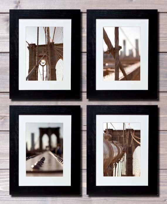 Kitchen Art America Brooklyn Ny: Brooklyn Bridge New York Photography Set Of 4 Prints