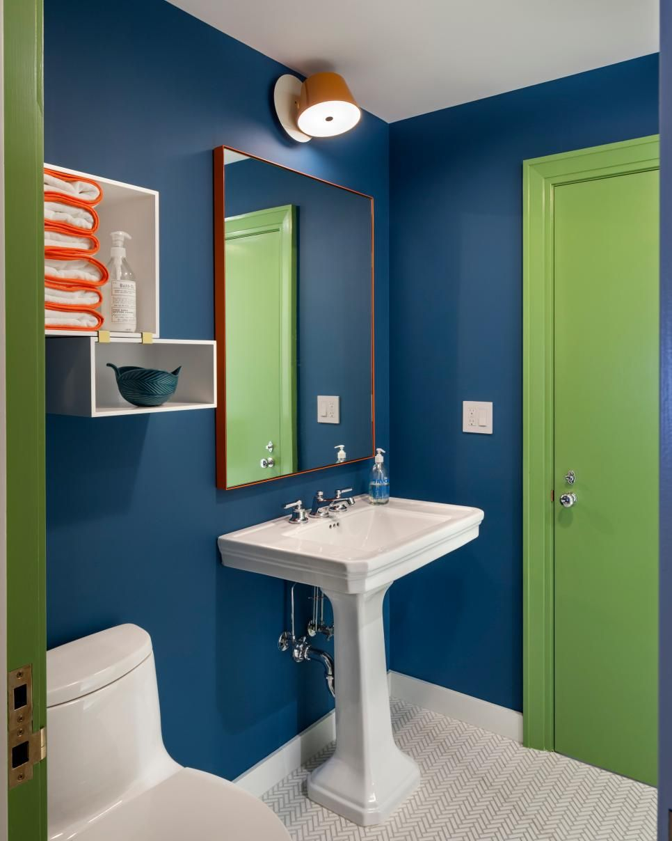 Contemporary Childrens Bathroom With Playful Lime Green Door Lime Green Bedrooms Green Bathroom Lime Green Rooms
