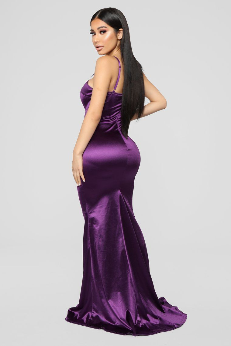 Gala Ready Satin Dress Purple Satin dresses, Purple