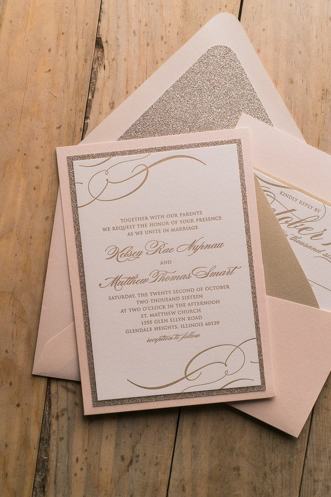 Theresa Suite Panel Pocket Package Blush And Gold Affordable Luxury Wedding Invitations Letterpress Glitter Envelope Liner