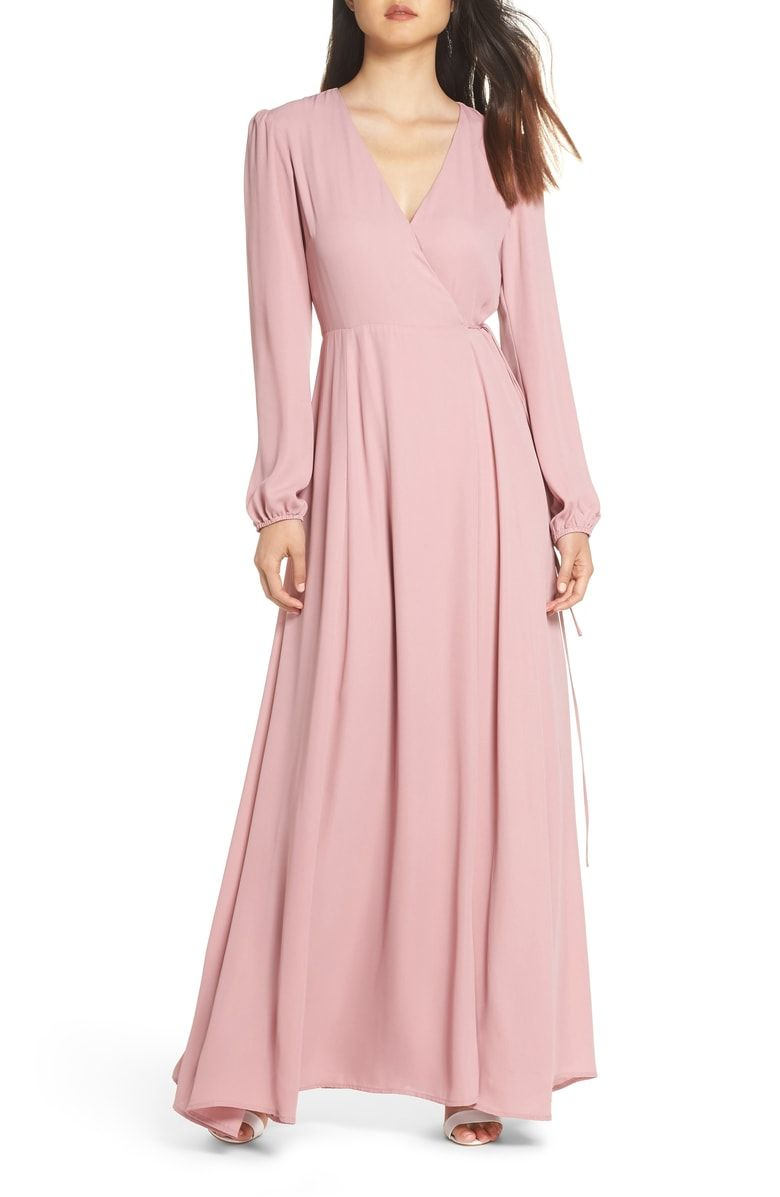 Free shipping and returns on WAYF Lila Long Sleeve Wrap Gown at ...