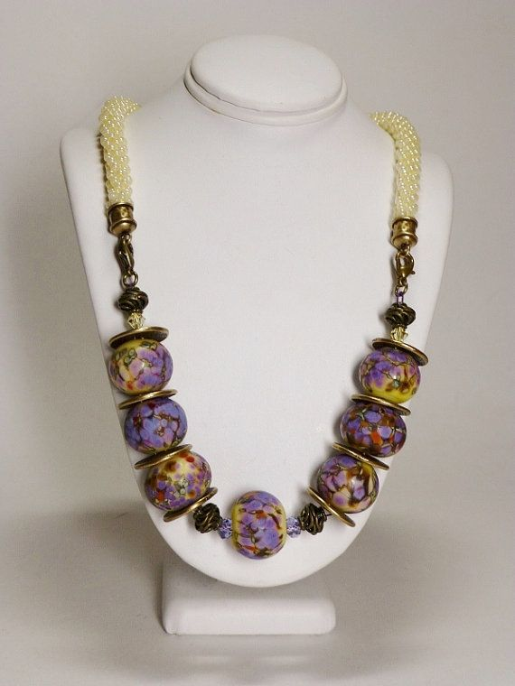 Set - Blue Lavender or Pale Yellow Kumihimo Necklace with Lampwork Beads and Matching Earrings SRAJD 3520