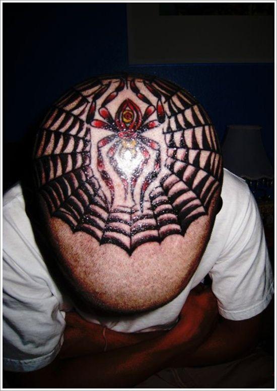 7502a7764 Fantastic Spider Tattoo Designs: Unique Spider Tattoo Design For Men On Head  ~ Tattoo Design Inspiration