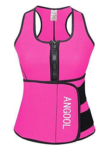 eaecf4c0b92 ANGOOL Waist Trainer Neoprene Sauna Vest with Zipper Adju ...