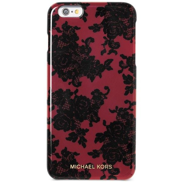 Michael Michael Kors Lace-Print iPhone 6 Plus Case ($50) ❤ liked on Polyvore featuring accessories, tech accessories, cherry and michael kors