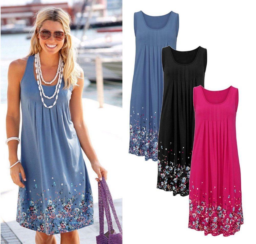Vintage Womens Ladies Sleeveless BOHO Patchwork Beach Party Swing Dress Sundress