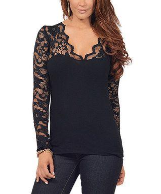 a39ce4838546d6 Black Lace-Panel V-Neck Top - Plus Too