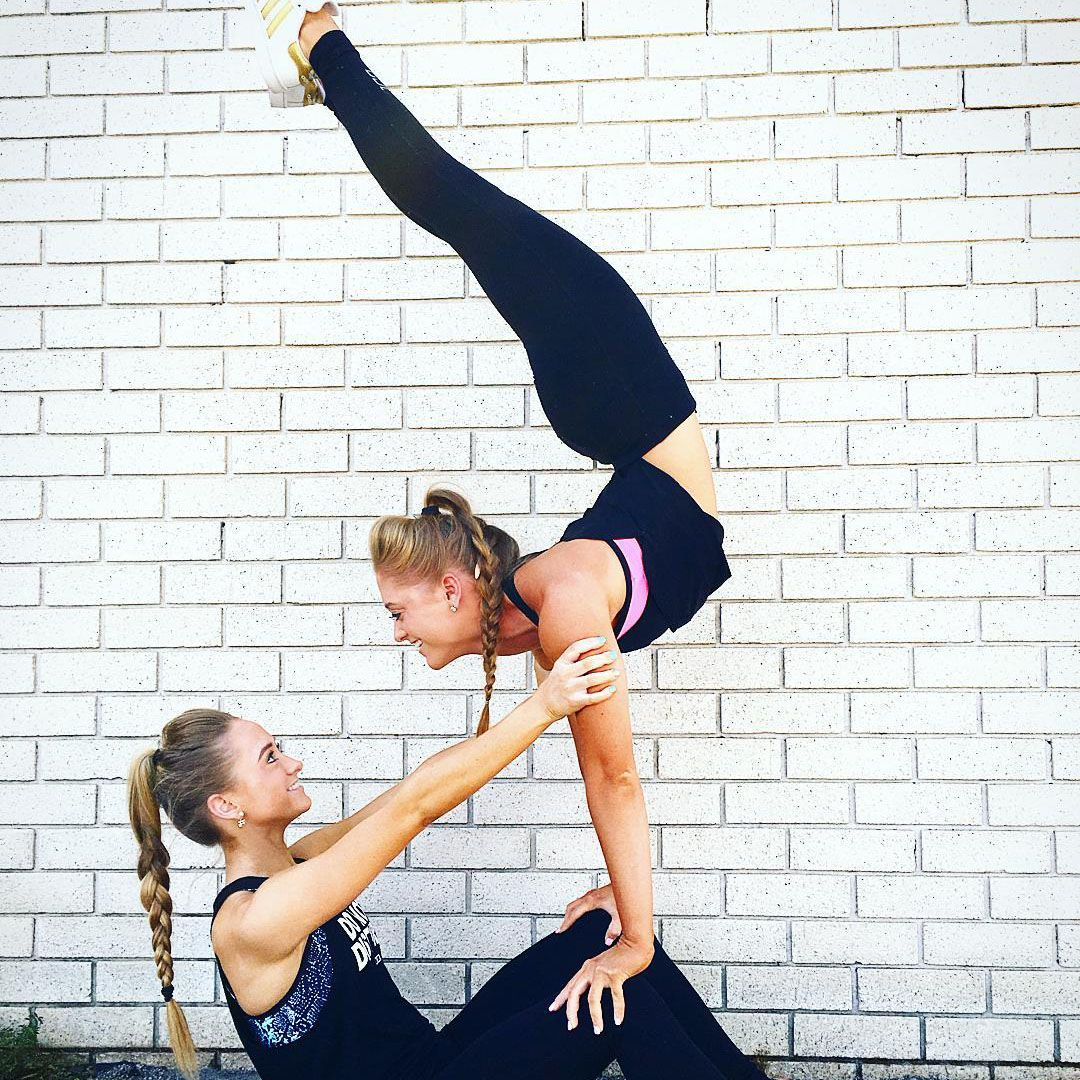 Staying In Unison With Acro Dancing Twins Teagan And Sam Rybka Repost By Pulseroll The Leaders In Vibrating Tr Gymnastics Poses Acro Dance Gymnastics Pictures