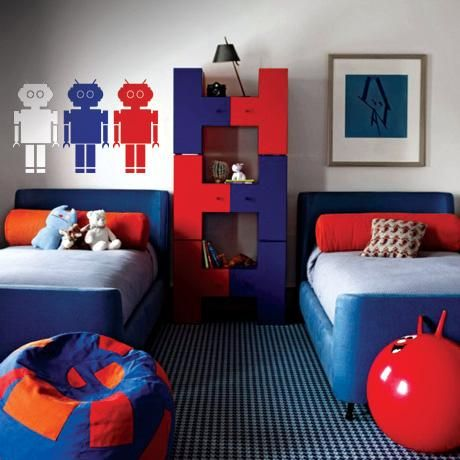 Robot Decal – Blue  & Red & White from Fun Kid's Room Decals