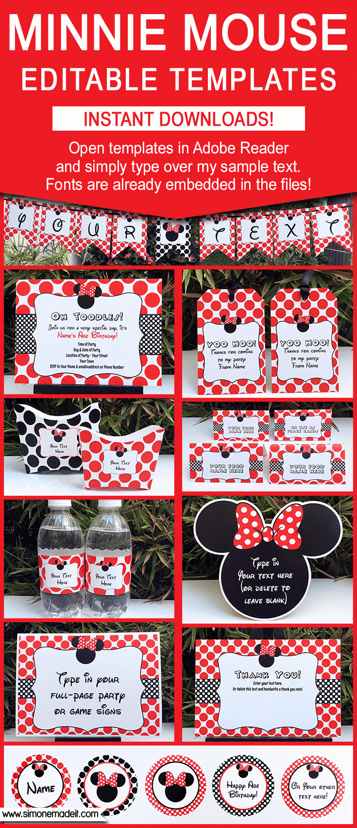 Minnie Mouse Birthday Party Printables, Invitations & Decorations ...