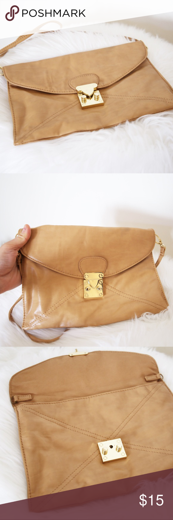6477e42dbe56 Stylish Faux Leather Camel Crossbody Purse Forever 21 soft camel light tan  colored crossbody purse - Envelope style crossbody - Long thing strap -  Gold ...
