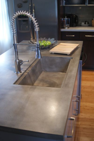 Kitchen: Concrete Countertop + Built In Sink   Accurate Color And Finish