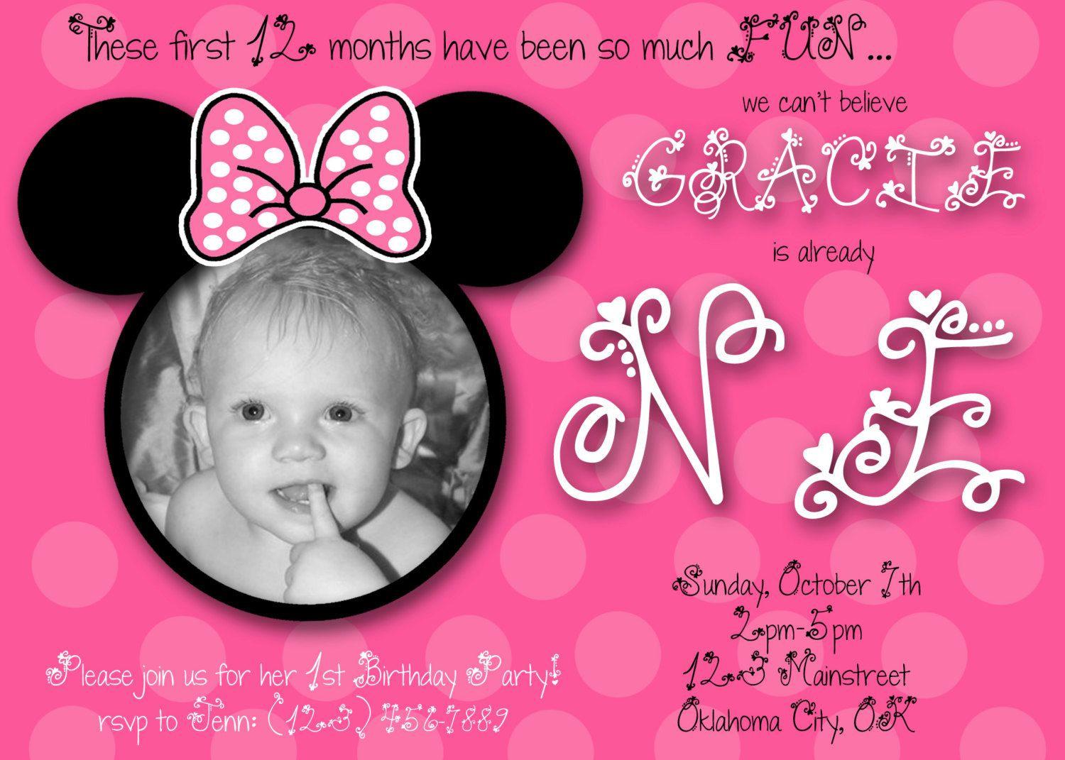 Minnie mouse first birthday custom invitation 1000 via etsy minnie mouse first birthday custom invitation 1000 via etsy filmwisefo