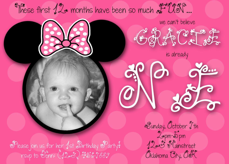 Minnie Mouse First Birthday Custom Invitation 1000 via Etsy – Custom First Birthday Invitations