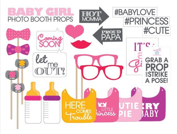 image about Baby Shower Photo Booth Props Printable identified as Kid Shower Props-- Printable PDF Female-- Prompt Obtain
