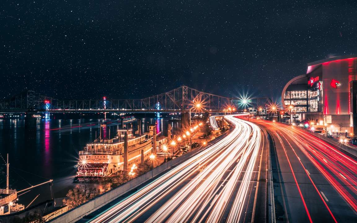 Download Wallpaper 3840x2400 Night City Road City Lights Long Exposure 4k Ultra Hd 16 10 Hd In 2020 City Lights Wallpaper Aesthetic Desktop Wallpaper Lit Wallpaper