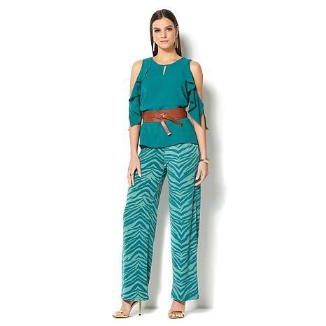 27899eccf3cfd3 IMAN Global Chic Luxury Resort Cold-Shoulder Ruffle Top - 8624194 ...