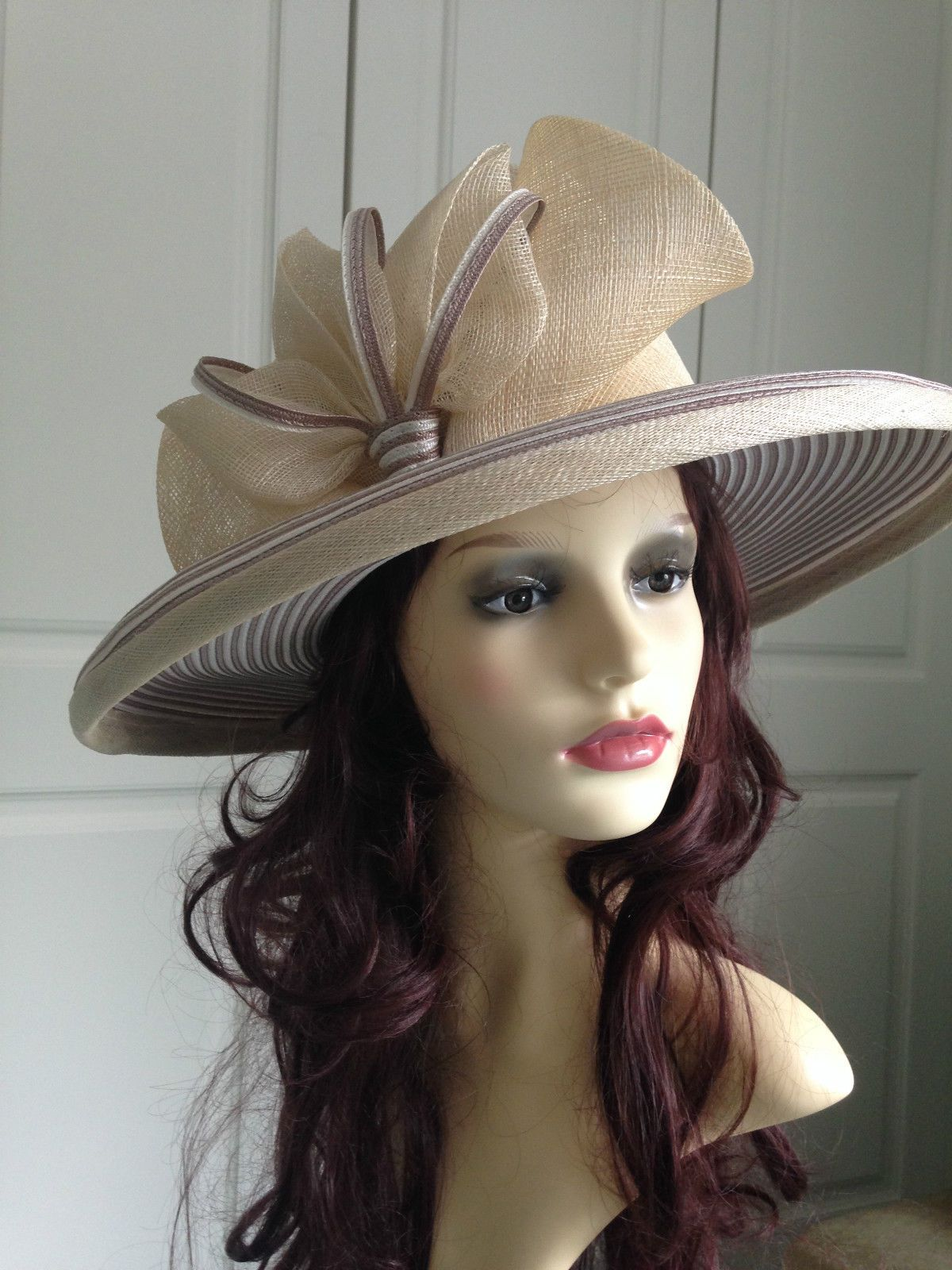 c4346a6c FABULOUS CREAM HAT WITH TAUPE STRIPE BY MILLINER NIGEL RAYMENT WITH ELASTIC  - 22