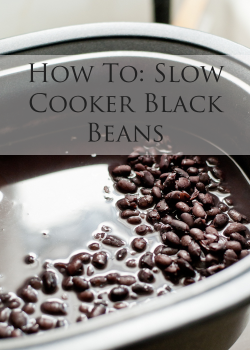 To: Slow Cooker Black Beans Cook beans to use in many meals - Ingredients: 1 lb. black beans, picked over to remove broken beans or small stones, 6 cups water 1 onion, diced, 2-3 whole garlic cloves 1 bay leaf 1/2 tablespoon salt, Place the beans in big bowl, cover with water, drain in a colander and rinse again. Place black beans, onion, garlic cloves, and bay leaf in