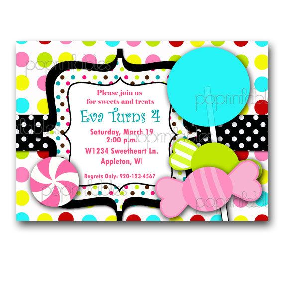 Candy Themed Birthday Party Invitation Addy Grace 2nd Bday Ideas