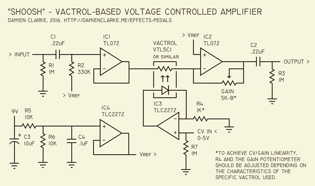 Building a vactrol-based voltage controlled amplifier (VCA) - Damien