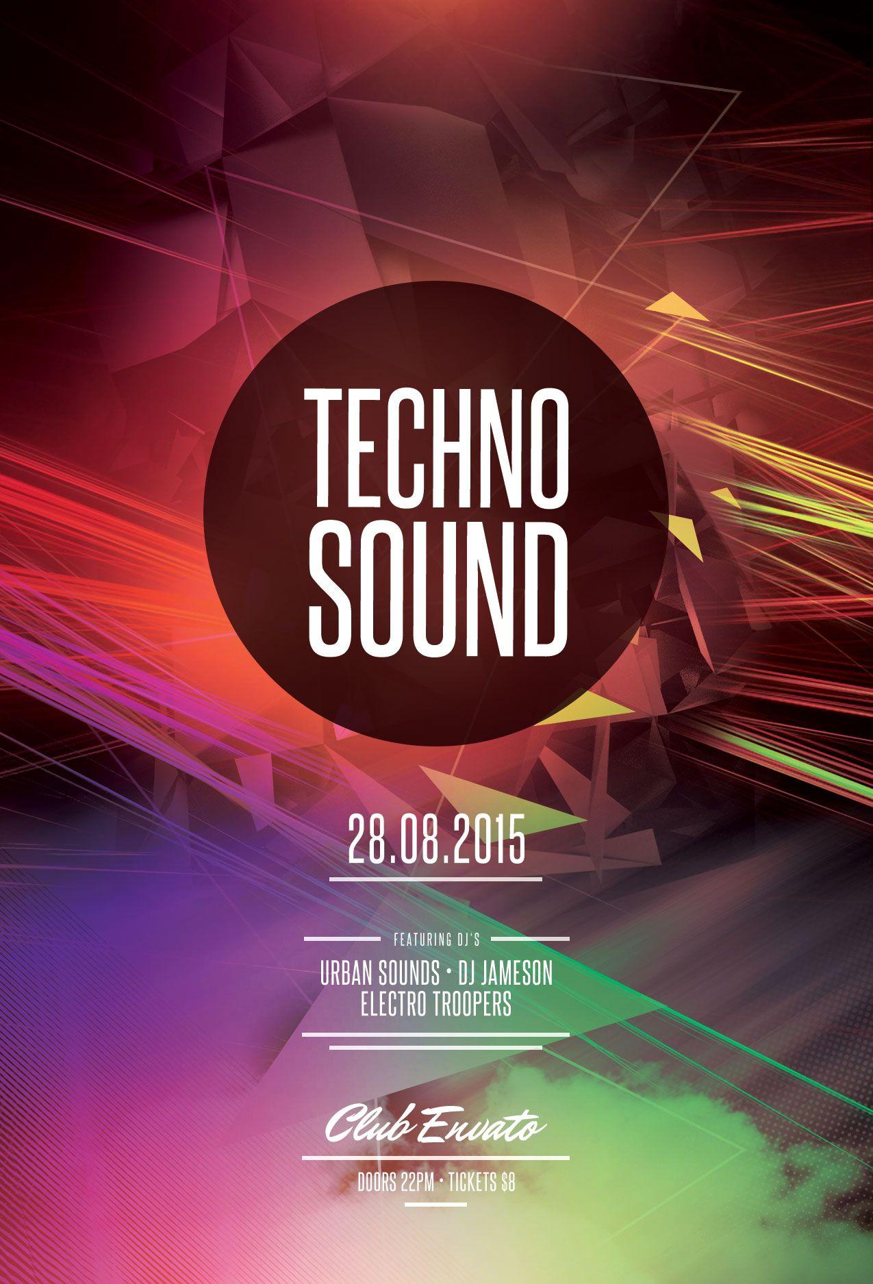 Techno Sound Flyer Template. Download PSD file / 6 Плакат