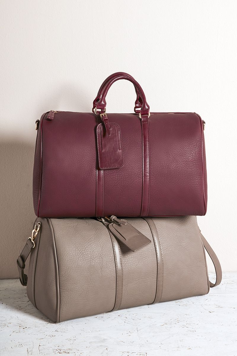 86afcf2df66b Bordeaux vegan leather weekender bag