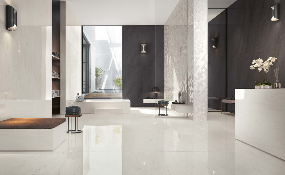 Wisma Sehati Polished Porcelain Tiles Bathroom Tile Designs Shiny Tile Floors
